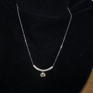 YGI 925 Dangling Round Halo Bar Pendant Necklace
